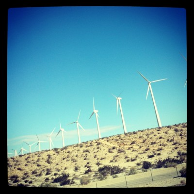 Windmills across the desert