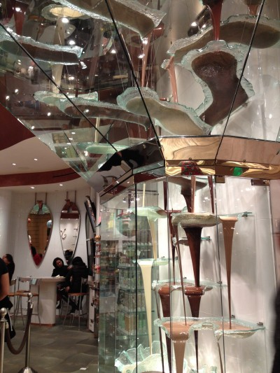 Chocolate fountain in the Bellagio.