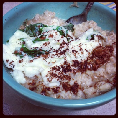 Sometimes with spinach and egg whites...and always with lots of cinnamon!