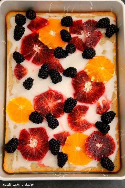 Vanilla Bean, Cardamom & Poppy Seed Sheet Cake with Lemon Glaze and Fresh Fruit