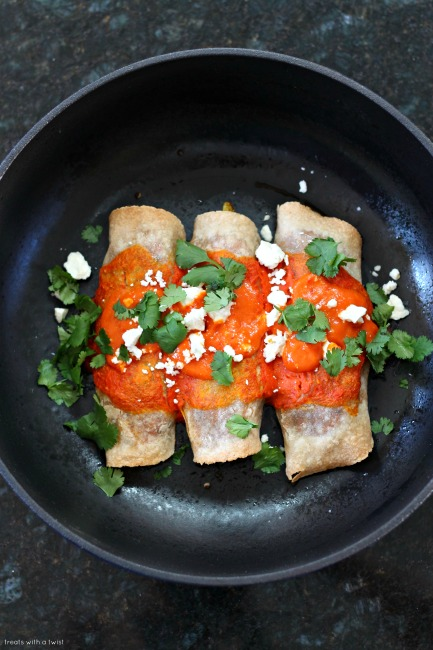 Curry Roasted Vegetarian Enchiladas with Harissa Enchilada Sauce